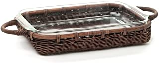 The Basket Lady Wicker Casserole Basket, 4 Quart, Antique Walnut Brown