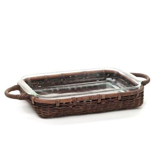 The Basket Lady Wicker Casserole Basket, 3 Quart, Antique Walnut Brown