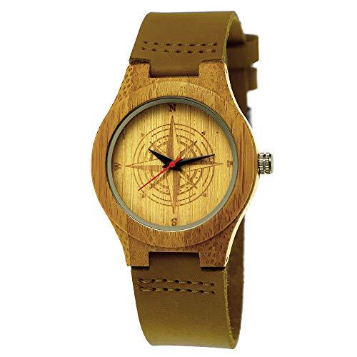 Handgefertigte Holzwerk Germany ® Designer Kompass Himmelsrichtung Öko Damen-Uhr Öko Natur Holz-Uhr Leder Armband-Uhr Analog Klassisch Quarz-Uhr in Braun mit Norden Süden Westen Osten Motiv
