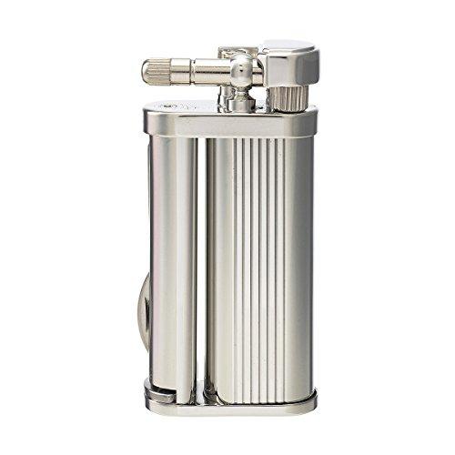 Tsubota Pearl Eddie Japanisches Premium-Feuerzeug für Pfeifen, Silber-Chrom-Streifen-Finish