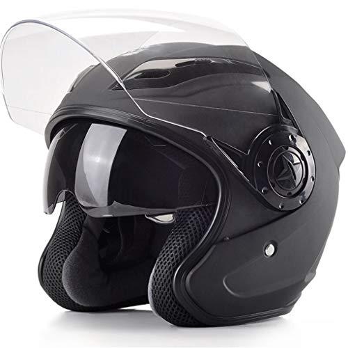 Jet Helmet TYX Cascos, Guerrero, Casco de Motocicleta con Protector Solar para Hombres y Mujeres para Bicicleta, Crucero, Picador, mopa, Scooter, ATV, código de Talla única (54-60 cm)
