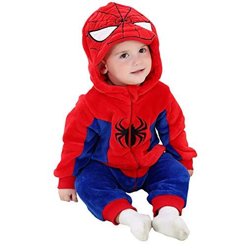 Bebé Invierno Peleles Infantil Mameluco Recién Nacido Monos Niños Abrigo Ropa Una Pieza Pijamas Niñas Trajes Disfraces (Spiderman,66cm)