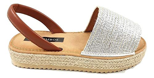 Timbos Zapatos - 122786- Menorquina Plataforma Esparto, Verano para Mujer en Color Plata (Plata, Numeric_39)