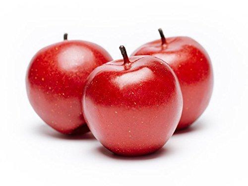 ERRO 3er Set großer roter Apfel Attrappen, 01059, hohl und leicht, Obstattrappe als Requsite, Äpfel aus Kunststoff, Lebensmittelattrappen zur Deko, Sommerdeko, Gastronomiebedarf