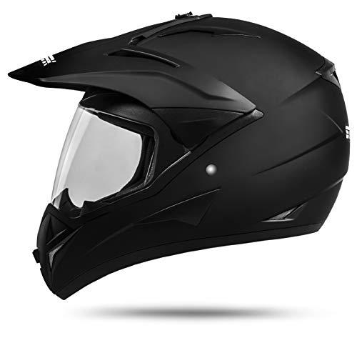 ATO Moto 801 GS War Matt Schwarz Größe: S 55-56cm Enduro Helm mit Visier Moped Quad ATV Motocross Motorradhelm ECE 2205