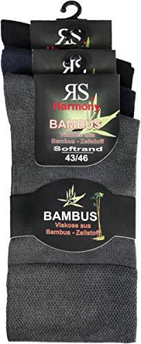 RS. Harmony | Socken & Strümpfe | Bambus Super Weich Atmungsaktiv | 3 Paar | schwarz, marine, anthrazit | 39-42