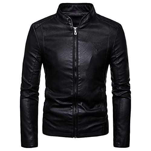 MANYMANY Chaquetas Cortas de Cuero para Hombre Chaqueta de Piel sintética de Motocicleta con Cuello Alto Negro para Hombre Outwear