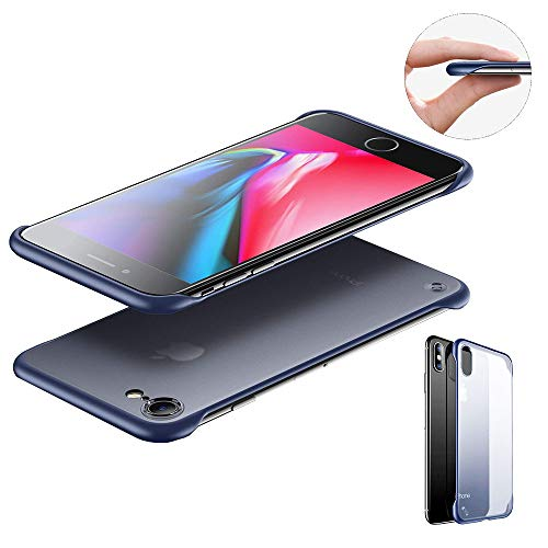 "SevenPanda Frameless für iPhone 7 Hülle Slim Translucent Matte Texture Design Hard PC Back Cover & TPU Stoßstange Etui für 8 iPhone 7 4.7"" (Free Metal Ring), Blau"