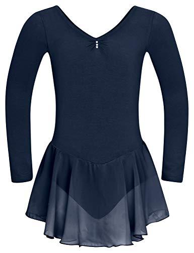 tanzmuster ® Vestido de ballet para niña de manga larga – Anna – de suave tela de algodón con brillantes y falda de gasa para niños, color azul marino, tamaño: 104/110
