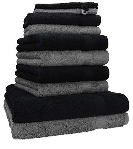 Betz 10-TLG. Handtuch-Set Premium 100% Baumwolle 2 Duschtücher 4 Handtücher 2 Gästetücher 2 Waschhandschuhe Farbe Anthrazit Grau & Schwarz