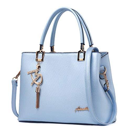 hellblaue Handtasche neue Welle Frauenhandtaschen mehrfache PocketsHandbag beiläufige Schulter-Beutel für Frauen PU Kuriertaschen Art- und WeiseEinkaufstasche beiläufiger Luxus 30x14x22