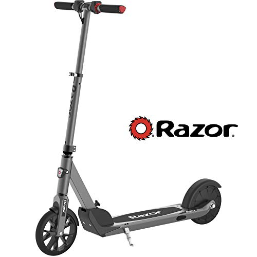 Razor E Prime Electric Scooter - Up to 15MPH, 8' Airless Flat-free Tires, Rear Wheel Drive, 250W Brushless Hub Motor, Super Lightweight 21lbs, Anti-Rattle, Aluminum Folding Electric Scooter for Adults