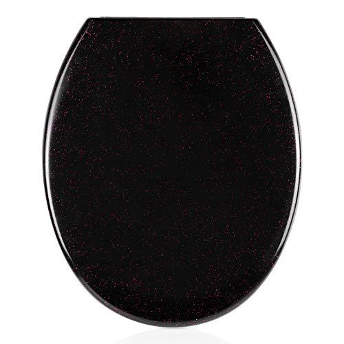 Homfa WC Sitz O-Form mit Absenkautomatik Toilettendeckel aus Duroplast Toilettensitz Schwarz mit pinkfarbendem Sprenkel Antibakteriell Quick-Release Abnehmbar Klobrille mit Edelstahl Scharniere