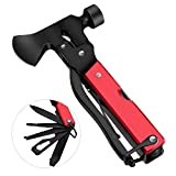 Camping Gear Multitool, Stainless Steel Multitool in Durable Black Oxide, Gifts for Men & Women, 14 in 1 Survival Gear for Outdoor Hunting Hiking, Emergency Escape Tool with Axe, Hammer, Plier, Knife