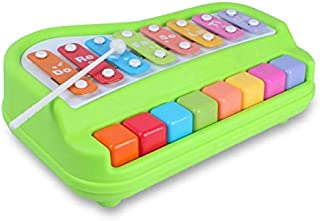 GALAXY GIFT GALLERY 2 in 1 Xylophone and Piano Toy with Colorful Keys for Toddlers and Kids (Multicolor) (Green)