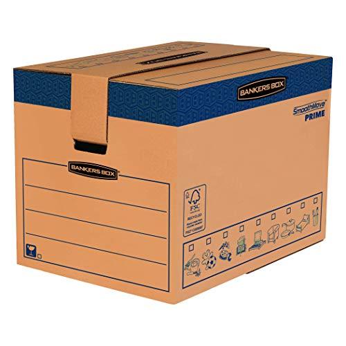 BANKERS BOX SmoothMove Heavy Duty Umzugskarton aus doppelt verstärkter Wellpappe mit Tragegriffen, schneller FastFold Aufbau ohne Klebeband, 127 Liter, 45.5 x 60.5 x 45.5 cm, 5 Stück