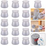 Chair Leg Floor Protectors, for Round & Square Silicone Chair Leg Protectors- Chair Leg Cap for Furniture, Prevents Scratches and Noise Without Leaving Marks(16Pcs Grayish Blue)