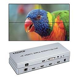 (1) Il controller a parete video 4K 2x2, supporta l'ingresso HDMI o DVI e l'uscita 4 HDMI, la funzione principale è quella di dividere un segnale HDMI, DVI HD completo in 4 blocchi e assegnare a 4 unità di visualizzazione video (ad esempio Unità di p...