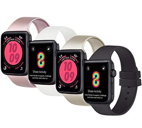 AK 4er-Set Kompatible für Apple Watch Armband 38mm 42mm 40mm 44mm, Weiche Silikon Ersatz Armband für Apple Watch Series 5 4 3 2 1(#Roségold/Gold/Schwarz/Weiß, 42mm/44mm-S/M)