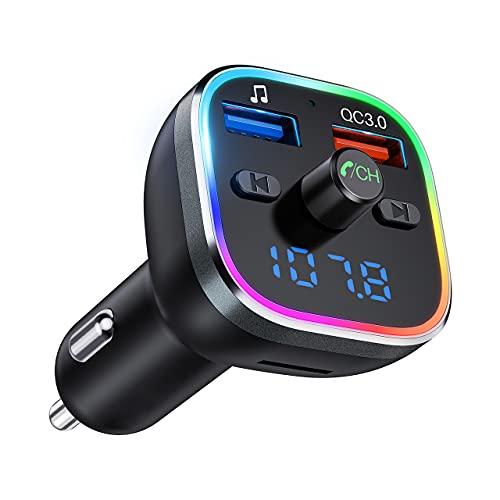 Transmisor FM Bluetooth Coche, [Luz de Anillo RGB], Adaptador Bluetooth para Coche, Inalámbrico Reproductor MP3 Mechero Coche Adaptador Receptor con Dual USB QC3.0 & 5V1A, Soporte Tarjetas SD + U Disk