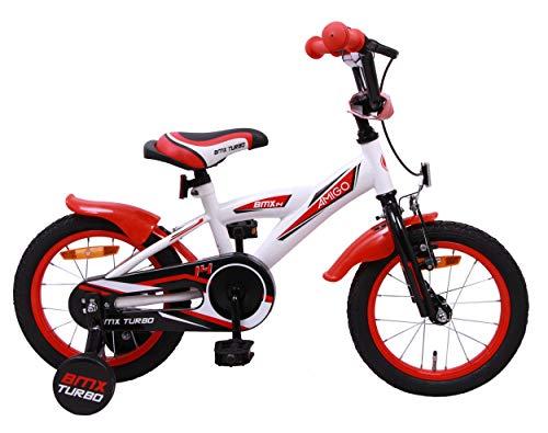 Amigo BMX Turbo - Kinderfahrrad für Jungen - 14 Zoll - mit Handbremse, Rücktritt, Lenkerpolster und Stützräder - ab 3-4 Jahre - Weiß