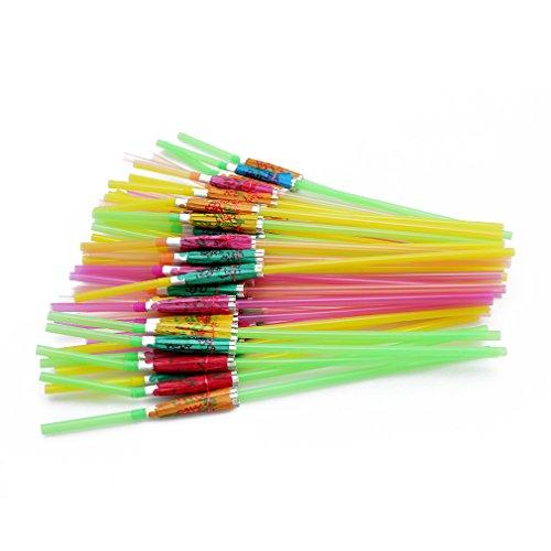 L_shop Regenschirm Form Stroh Mischfarbe Party Stroh Dekorative Niedliche Getränkeröhre 50 Stück/Beutel