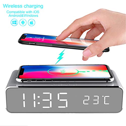 LED Smart Alarm Clock Time Temperature Display Wireless Charging Pad Dock, Qi-Certified for iPhone 11, 11 Pro Max, XR, Xs Max, XS, X, 8, 8 Plus, 10W Charging Galaxy S10 S9 S8, Note 10 Note 9 (Silver)