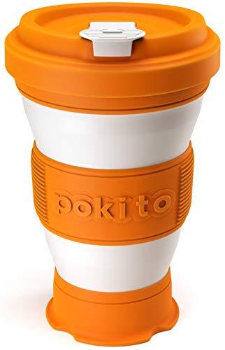 Trinkbecher für Kaffee und andere Getränke von Pokito | Super Faltbarer Becher/Kaffeebecher to go mit Deckel für unterwegs, Auto, Outdoor, Camping | Robust, wiederverwendbar, Auslaufsicher | Orange