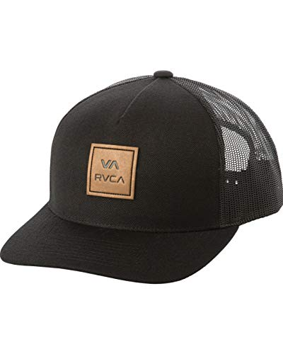 RVCA mens Rvca Men's Curved Bill Snapback Mesh Trucker Hat Baseball Cap, Black, One Size US