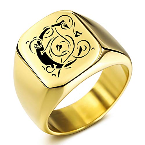 MeMeDIY Custom Engraved Initial Monogram Signet Ring for Men Women Boys Mens Rings Stainless Steel, Bundle with Ring Size Adjusters(Gold Color, Size N)