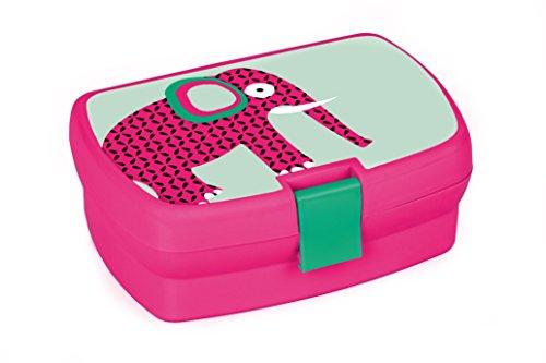 Lässig Kinder Lunchbox Brotdose Snackbox mit herausnehmbaren Fächern, Wildlife Elephant