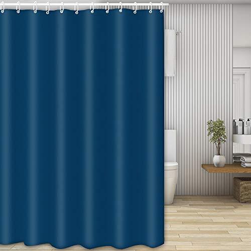 Cortina Baño,Cortina Ducha Tela Antimoho,Poliéster Cortinas de Baño Decorativas Impermeable & Lavable con 12 Aros Cortina Ducha,para el hogar, las duchas escolares y más,180 x 200cm(Azul oscuro)