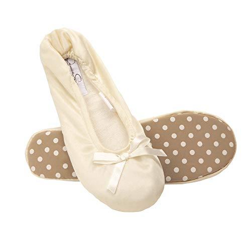 Jessica Simpson Women's Satin Ballerina Yoga Slipper with Bow, Ivory, LG