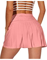 XIEERDUO Women's Athletic Tennis Golf Skirts with Shorts Pockets Acitve High Waisted Running Skorts
