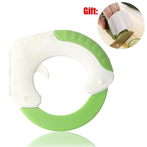 Circular Rolling Knife by ULee - Creative Ergonomic Design to Protect Your Wrist - Multiple Use for Cutting Meat, Vegetables and Pizza - Bonus Finger Protector