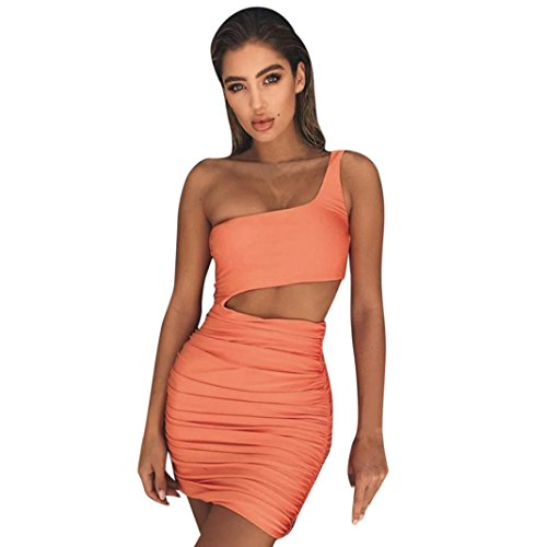 Kleid damen Kolylong® Frauen Elegant Trägerlos Kleid Kurz Vintage Rückenfreies Kleider Slim Bleistiftkleid Etuikleid Festlich Minikleid Strandkleid Cocktail Partykleid Abendkleid (Orange, S)