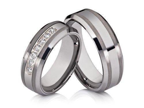 2 Hochzeitsringe Verlobungsringe Trauringe Eheringe Partnerringe aus Wolfram mit kostenloser Lasergravur vom Online-Juwelier