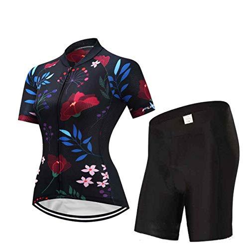 2 Piezas Maillot Ciclismo Mujeres, Ropa Ciclismo y Culotte Ciclismo con Culotte...