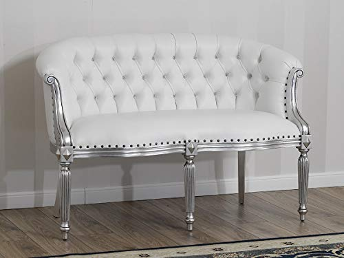 SIMONE GUARRACINO LUXURY DESIGN Sofá Isabelle Estilo Barroco Moderno 2 plazas Color Hoja Plata Eco-Piel Blanca Botones Crystal Sw