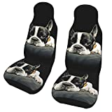 KiuLoam French Bulldog Car Seat Covers, Front Vehicle Seat Protector Car Mat Covers, Universal Fit for Vehicle Sedan SUV and Truck Automotive Interior, 2 Pcs