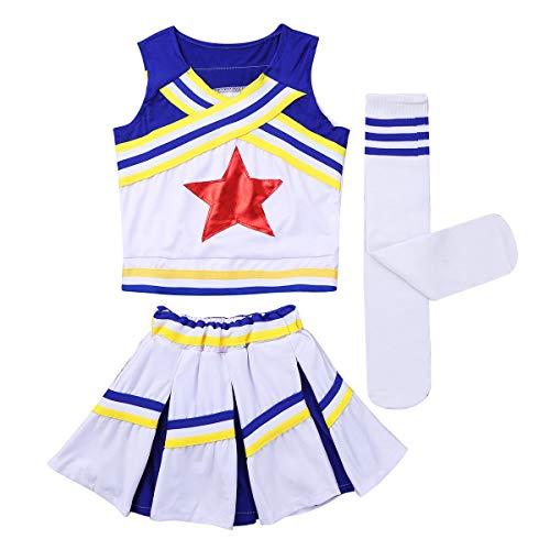 MSemis Déguisement de Pom-Pom Girl Soccer Outfit Costume High School Musical Déguisement Carnaval Enfant Fille Costume Danse Performance Vêtement de Sport 4-14 Ans Bleu 10-12Ans