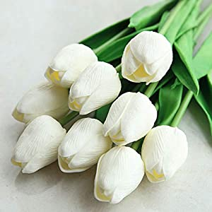 10 Piece Of Simulated Tulip Wedding Party Home Placed Fake Flowers,Milk white