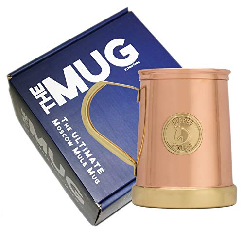 The Finest HandCrafted Copper Mug by Copper Mules - Unique Patent Pending Design - Solid Brass Base and Handle - Holds 18oz