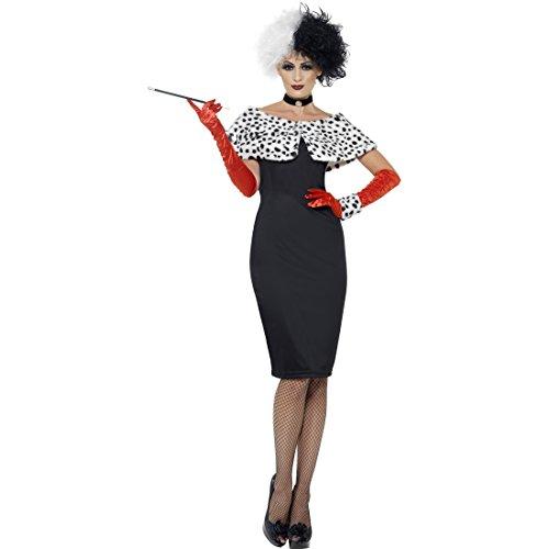 NET TOYS Costume de Cruella Femme Dalmatien déguisement de Femme S 38/40 Tenue de Film vilaine méchants de Disney Tunique d'halloween Costume de Femme Habit de Carnaval Dame