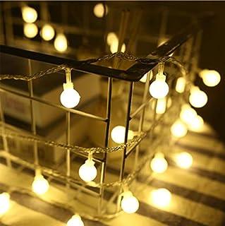 Gsogcax イルミネーションライト6M 40球付き 電池式 ストリングスライト 防水 円球ジュエリーライト屋外 室内 電飾 正月クリスマス 結婚式 パーティー ガーデンライト飾り 間接照明 フェアリーライト (ウォームホワイト, 電池式)