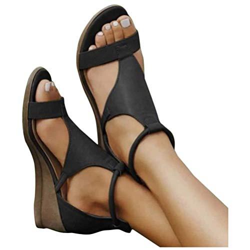 ORANDESIGNE Damen Keilabsatz Sandalen Frauen Sommer Offene Schuhe Faux Leder Plattform Flip Flops Freizeit Sommerschuhe 40 EU A Schwarz