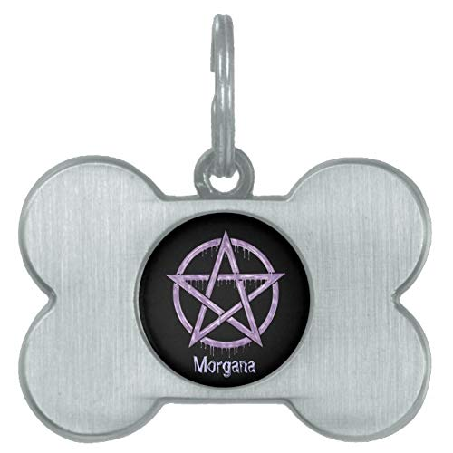 Stainless Steel Pet ID Tags, Wiccan Pet Purple Personalized Pet Name Tag, Dog Tags, Cat Tags, Bone Shaped ID Tag for Dogs and Cat