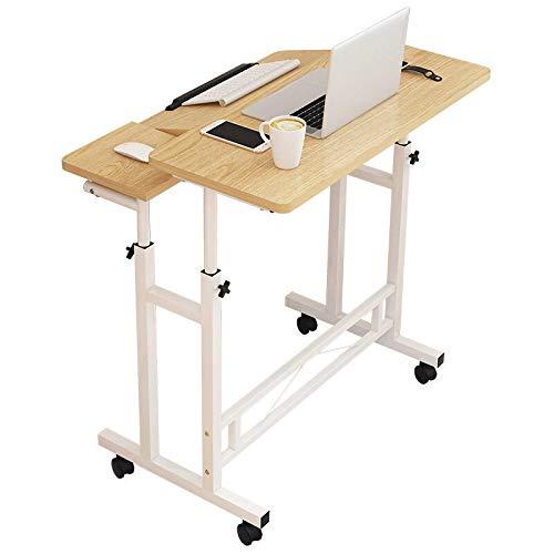 Kuingbhn Mesa de trabajo para ordenador portátil, altura ajustable, mesa de ordenador con rueda, mesita de noche móvil, para casa, oficina, hogar, (tamaño: 80 x 58 x (65 – 90 cm), color: madera)