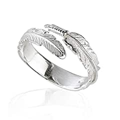 Solid 925 Sterling Silver Angel wing Feather ring Feathers are often representatives of angels and protection, so whether its for someone special or a good luck charm just for you this flawless feather ring is perfect for starting a new life adventur...