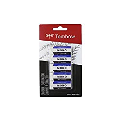 Tombow 57321 MONO Eraser, White, Small, 5-Pack. Cleanly Removes Marks Without Damaging Paper
